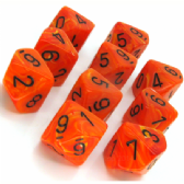 Orange & Black Vortex D10 Ten Sided Dice Set